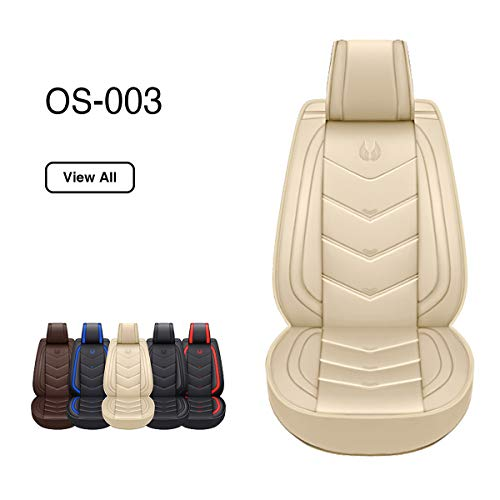 OASIS AUTO OS-003 Leather Car Seat Covers, Faux Leatherette Automotive Vehicle Cushion Cover for Cars SUV Pick-up Truck Universal Fit Set for Auto Interior Accessories (Eagle TAN, Full Set)