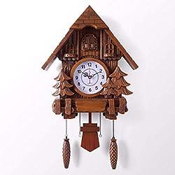 MGE UPS Systems Clock Wall Clock,Wall Clock European Style Living Room Wall Clock Clock Cuckoo Clock Clock Mute Swing Clock Modern Creative Simple Pastoral Clock Cuckoo Clock (Color : B)