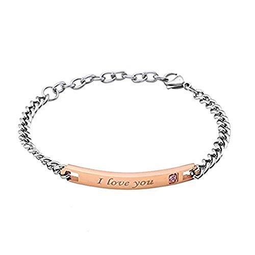 """Acciaio inossidabile""""I am Jewelbeauty per lui e lei sarà mio"""" coppia bracciali regalo San Valentino Female-Gold"""