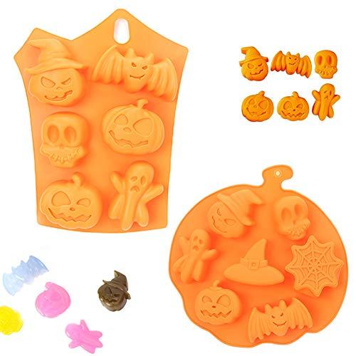 FansQ 2 Stück hochwertige Silikonbackform/Muffinform, verwendet für Seife, Pudding, Schokolade, Kuchen, Brot, Keks, Halloween-Backform, Kürbisschädel-Kuchenform