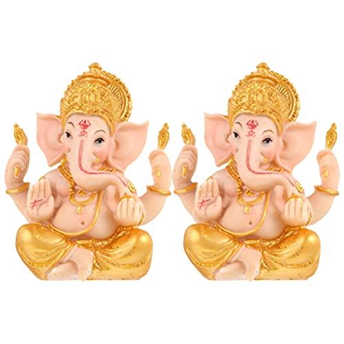 VORCOOL 2 Piezas de Oro Elefante Hindú Dios Figurita Suerte Y Riqueza Arte Escultura Ganesha Elefante Dios Estatua Yoga Decoración Meditación Ornamento para El Hogar
