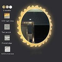DIYウォールミラーLedバスルームミラー25.6インチラウンドタッチ曇り止め調節可能な暖かい白/日光ライトIP44防水,Touch
