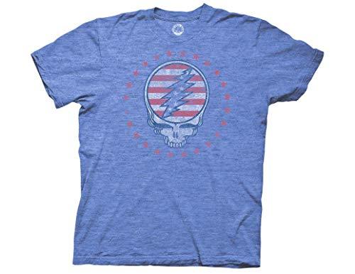 Ripple Junction Grateful Dead Adult Unisex Patriotic SYF Reverse Light Weight Crew T-Shirt 3XL Heather Royal