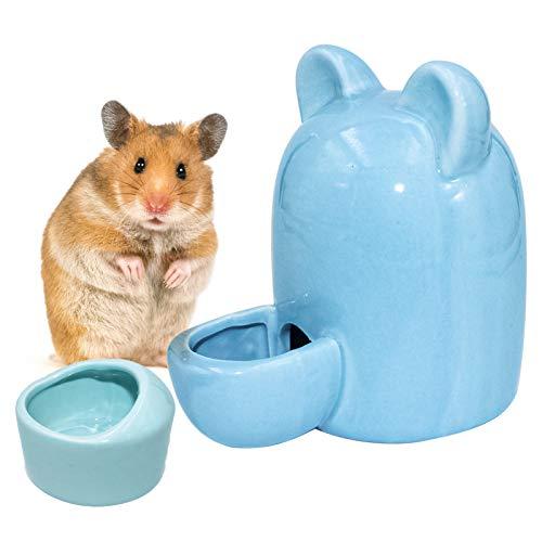 Hamster Trinkflasche Keramik Automatischer Wasserspender Meerschweinchen Trinkwasser Feeder, Hamster Wasserflasche mit Hamster Keramik Napf für Hamster, Chinchilla, Meerschweinchen, Igel, Vogel (Blau)