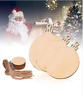 10 Unds. de adornos de madera diseño bola de Navidad para decoración arbol y abeto