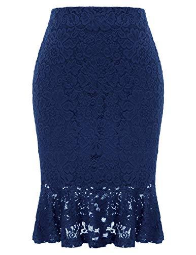 Women Elastic Waist Office Pencil Skirt Mermaid Lace Party Evening Skirt Navy L