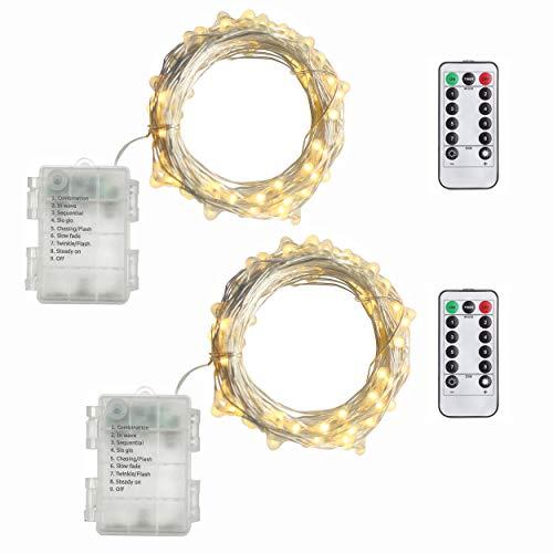 2 Stück, 5M 50 Lichter Micro Lichterkette Batteriebetrieben mit Silberdraht, IP 65 Warmweiß - (Timer Funktion)