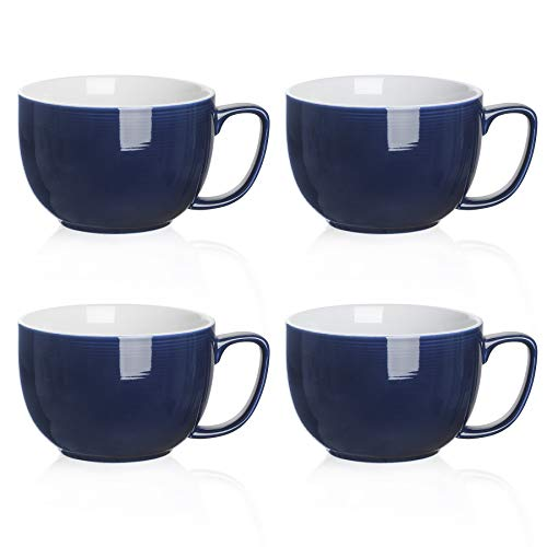 Teocera Porcelain Large Coffee Mugs Set, Jumbo Mugs, Soup Bowls with Handles, 24 Ounce for Coffee, Hot Cocoa, Cereal - Set of 4, Navy
