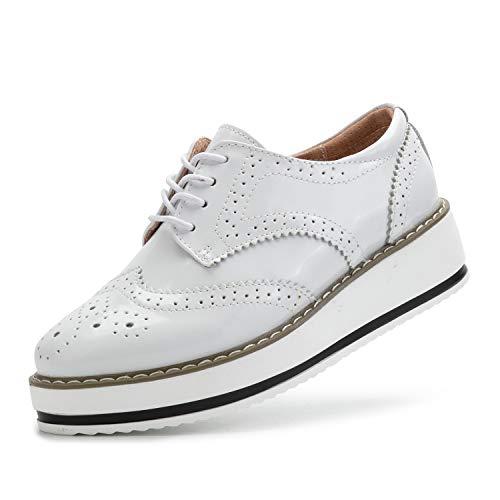 Patent Leather Shoes Women Fashion Comfortable Wingtip Oxford Dress Shoes Cute White 366-Bai/41