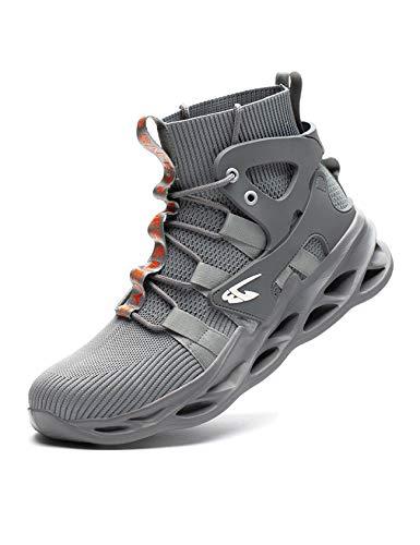 Legou Unisex Stahlkappe Arbeitsschuhe Industrie Konstruktion rutschfeste Schuhe für Herren Damen, Grau - grau - Größe: 43 EU