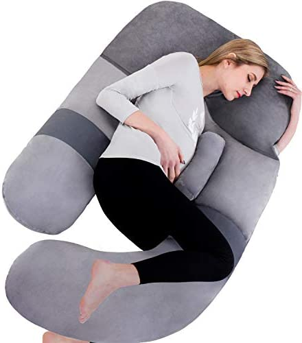 60in Full Body Pillow | Nursing, Maternity and Pregnancy Body Pillow | Awesling Extra Large U Shape Pillow and Lounger with Detachable Side, Separate Support Pillow and Removable Cover (Grey Blue)