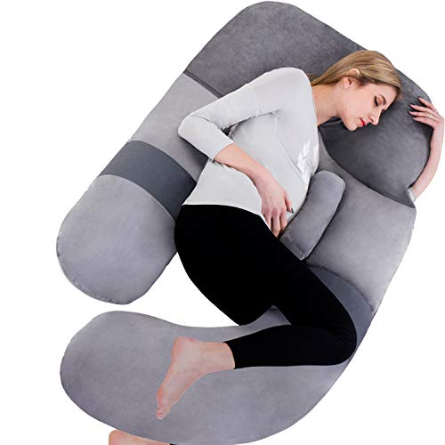 Awesling 60in Full Body Pillow | Nursing, Maternity and Pregnancy Body Pillow | Extra Large U Shape Pillow and Lounger with Detachable Side, Separate Support Pillow and Removable Cover (Grey)