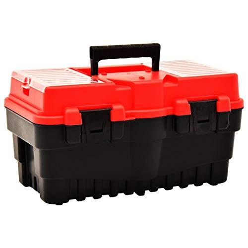 Extaum Werkzeugkoffer Werkzeugorganisator Werkzeugkasten Kunststoff 462 x 256 x 242 mm Rot Seitengriffe Vorhängeschlossloch