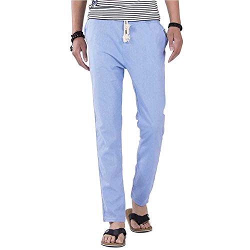 NOBRAND Pantalones de lino saludables antimicrobianos para hombre, verano, transpirables, delgados, pantalones de algodón cáñamo, pantalones casuales