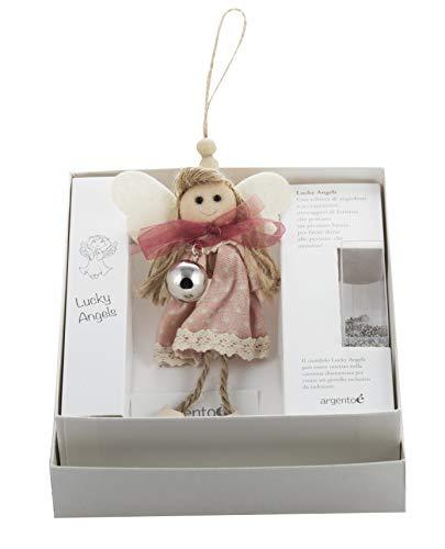 Regalo neonato angelo custode, in stoffa, con ciondolo chiama angeli SFERA e catenina, 80cm
