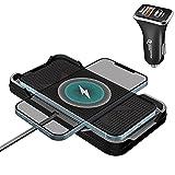 Cargador de coche inalámbrico, Polmxs 15 W rápido cargador inalámbrico coche, antideslizante, horizontal vertical, con USB-C PD3.0 36 para iPhone 12/12 Pro/11/X/8, Samsung S20/Note 10+/S10