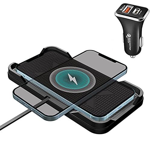 Wireless Charger Auto, Polmxs 15W Schnell Kabelloses Kfz-Ladegerät Rutschfeste Matte Qi Ladestation Auto Ladepad Mit 36W USB-C Auto-Ladegerät Für iPhone 12/12 Pro/11/XR/XS/X/8 Samsung S21//Note 10+/S9