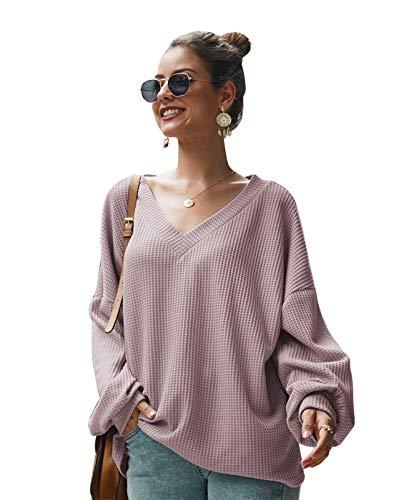 UMore Bluse Damen Pullover Damen Langarmshirts Schulterfrei Oversize Tshirts Damen Herbst V-Ausschnitt Blusen Oberteile Casual