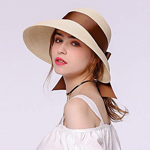 YANGLAN Zomer Vrouwelijke Zonnehoed, Retro Hepburn Straw Hat, Persoonlijkheid Mode Lint Streamer Zonnehoed, Reizen UV Bescherming Hoed. Kruiden