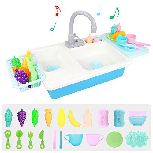 Alician Kids Play House Simulation Lavavajillas Rompecabezas de Juguete de educación temprana para niños, Mesa de lavavajillas eléctrica Azul música + Estufa