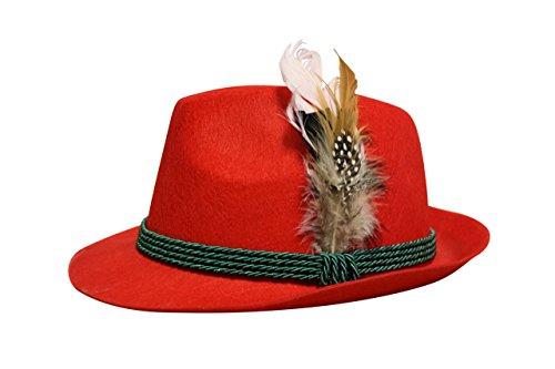 Edelnice Trachtenmode Edelnice Trachtenmode Trachten Filzhut mit echter Feder, Farbe rot