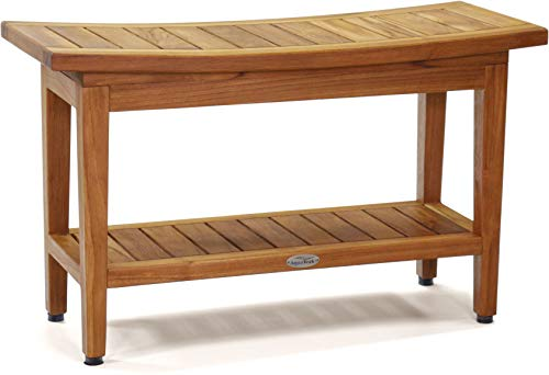 AquaTeak Patented 30' Maluku Teak Shower Bench with Shelf