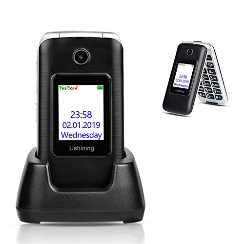Ushining 3G Unlocked Senior Flip Phone Dual Screen Dual SIM Card T Mobile Flip Phone 2.8 Inch LCD...