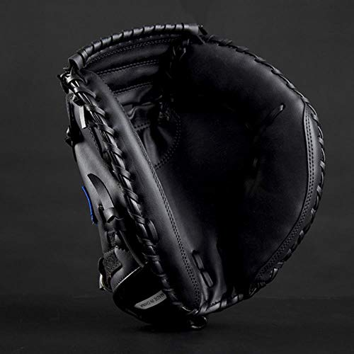 zyr Baseball Catcher Glove Deportes al Aire Libre Marrón Negro PVC Equipo de práctica de softbol Tamaño 12.5 Mano Izquierda para Entrenamiento de Adultos, Negro