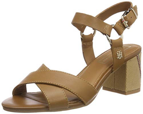 Tommy Hilfiger Damen Elevated Leather Heeled Sandal Plateausandalen, Braun (Summer Cognac 929), 40 EU