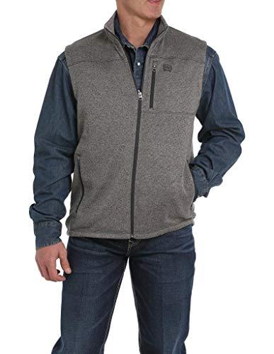 Cinch Men's Heather Grey Full Zip Fleece Sweater Vest Heather Grey X-Large
