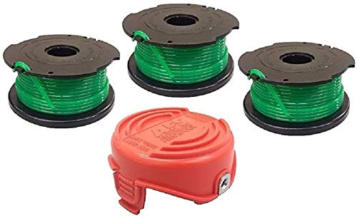 EFP Replacement Auto Feed Spool Compatible with The Black & Decker GrassHog GH3000 Model Lawn Trimmer Edger, Replaces SF-080  3 Spools (20 Feet Each) + 1 Bump Cap