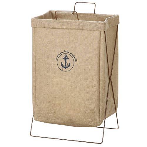 不二貿易 ランドリーバスケット 洗濯かご 幅37cm 容量約30L 折りたたみ 麻 横型 30684