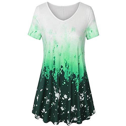 Zegeey Damen T-Shirt Kurzarm V-Ausschnitt Drucken Dye LäSsige Lose Sommer Tunika Bluse Oberteil Bluse Pullover Top (Grün,48 DE/4XL CN)