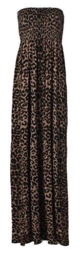 Fast Fashion - Damen-Maxikleid, Plusgröße, Batik-Optik, bedruckt Gr. 44/46 EU , Léopard Brun