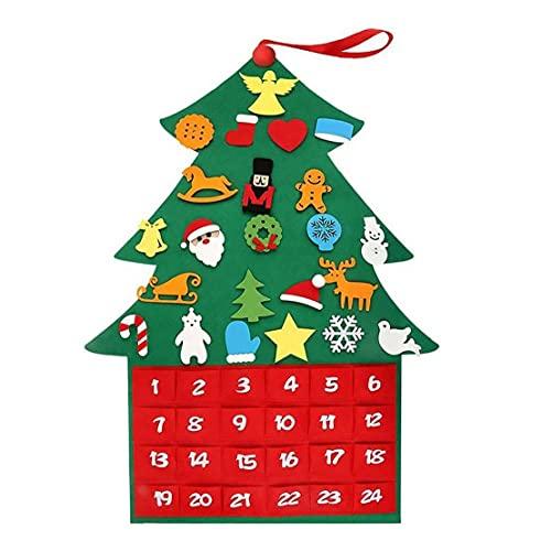 EElabper Advent Calendar, Felt Christmas Tree Countdown Advent Calendar with Pockets & Small Ornaments, Diy Xmas New Year Door Wall Hanging Decorations for Kids