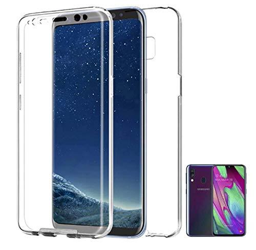 PLANETMOVIL Funda 360 Compatible con [ Samsung Galaxy A40] (5,9 Pulgadas) Carcasa Doble Cara 360 de Silicona Delantera + Trasera TPU rigido Doble 100% Transparente Enteriza y Completa