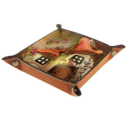 Eslifey Bandeja de escritorio de piel de microfibra de diseño vintage con diseño de setas, práctica caja de almacenamiento para carteras, llaves y equipo de oficina, 16 x 16 cm