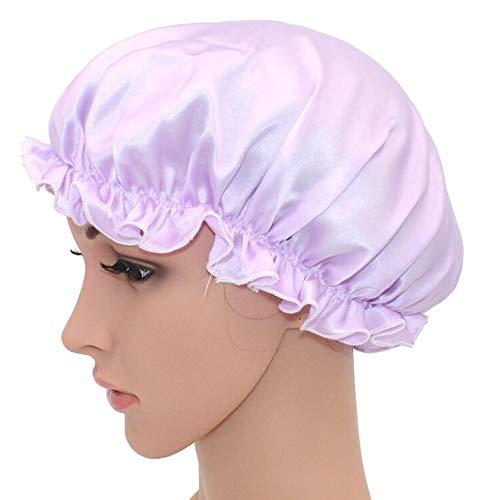 WJH Sleeping Naturel Soie de mûrier Bonnet de Nuit Bonnet Chapeau Head Couverture pour Beauty Hair avec Bande élastique pour Cheveux Perte de Sommeil Protection des Cheveux (2 pièces),Violet