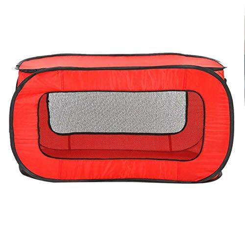 N\X Tienda de campaña portátil plegable para mascotas, jaula para perros, valla para cachorros, gatos, perros, túnel, rectangular, transpirable, casa para perros, 87 x 47 x 47 cm, color rojo