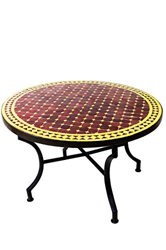 ORIGINELE Marokkaanse mozaïek tafel salontafel ø 100cm groot rond | ronde kleine mozaïek tuintafel Mediteran | als tafel bijzettafel voor balkon of tuin | Marrakesch bordeaux geel 100cm