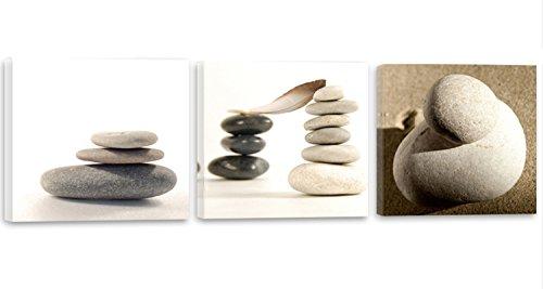 Feeby Frames, Cuadro en lienzo - 3 partes - Panorámico, Cuadro impresión, Cuadro decoración, Canvas 60x20 cm, ZEN, PIEDRAS, TABLAS, GRIS