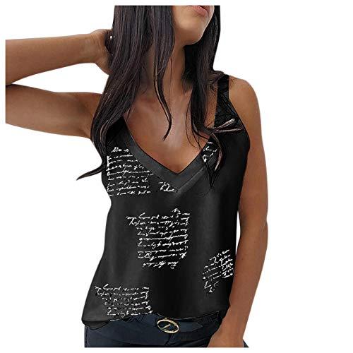 Camisetas sin Mangas Mujer Sexy sólido Moda con Cuello en V Tank Tops Lentejuelas Cultivos Top Camis Verano Blusa De Fiesta Mujer Ropa Tirantes Camiseta Riou