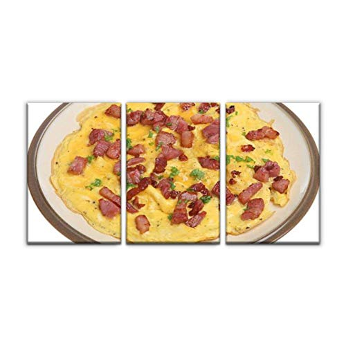Gracelapin Canvas Wall Art Decor, Omelet with pancetta omelettes and Pictures Printed Oil Painting Home Decoration- 3 Panels