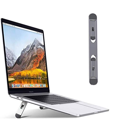 """Portable Laptop Stand, Folding Aluminum Invisible Lightweight Laptop Computer Stand, 2 Kinds of Adjustable Heights, Compatible with MacBook Air Pro, Dell, HP, Lenovo More 10-15.6"""" Laptops (Gray)"""