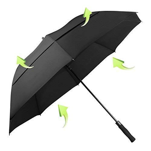 KOLER Golf-Regenschirm, winddicht, 155,7 cm, übergroß, doppelt belüftet, automatisches Öffnen, wasserdicht und sonnenfest, extra großer Stockschirm – schwarz/belüftet