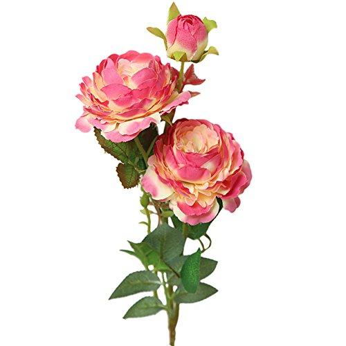 Terby Schön Künstlich Blumen, Rose Blume Pfingstrosen Künstliche Blume Blumenstrauß Für Hochzeit Party Fest Home Decor Büro Bar Dekor Rosa Rot Blau (Hot Pink)