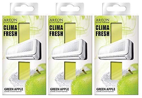 Areon Clima Fresh Ambientador Manzana Verde Casa Aire Acondicionado Olor Fruit Original Hogar Salón Oficina Tienda ( Green Apple Pack de 3 )