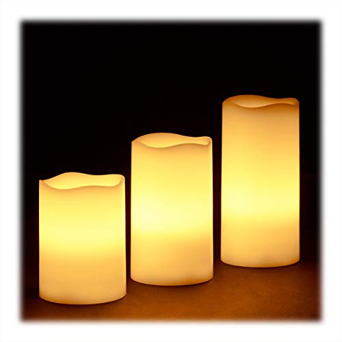 Relaxdays LED Kerzen Echtwachs 3er Set, elektrische Kerzen flackernd, hell, Batteriebetrieben, Ø 7 cm, 3 Größen, creme