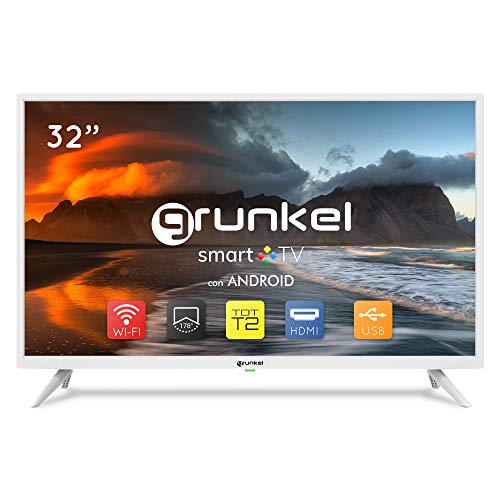 Grunkel - LED-3220BLANCOSMT - Televisor LED Smart TV, Wi-Fi, Panel HD Readyy TDT Alta Definición. Modo Hotel y Auto-apagado - 32 Pulgadas - Blanco