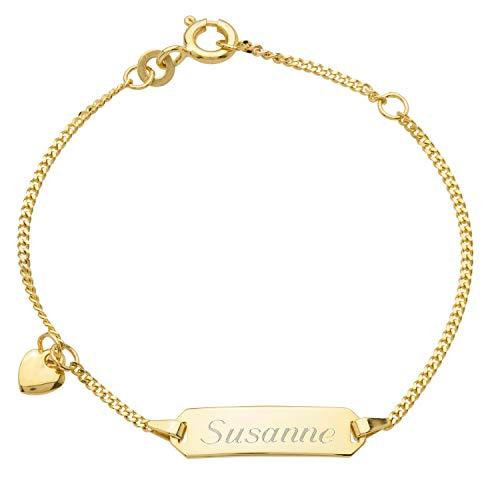Schmuck-Pur 333/- Gold Baby-ID-Armband Herz mit Gravur 14cm